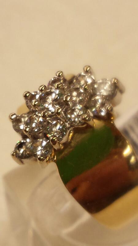 Lady's Diamond Cluster Ring 13 Diamonds .64 Carat T.W. 14K Yellow Gold 5.02dwt