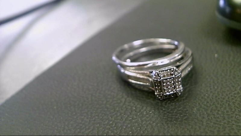 Lady's Silver-Diamond Ring 30 Diamonds .30 Carat T.W. 925 Silver 3.9g