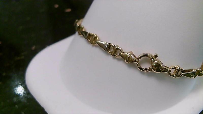 "7"" Paola Valentini Gold V Link Bracelet 18K Yellow Gold 9.8g"