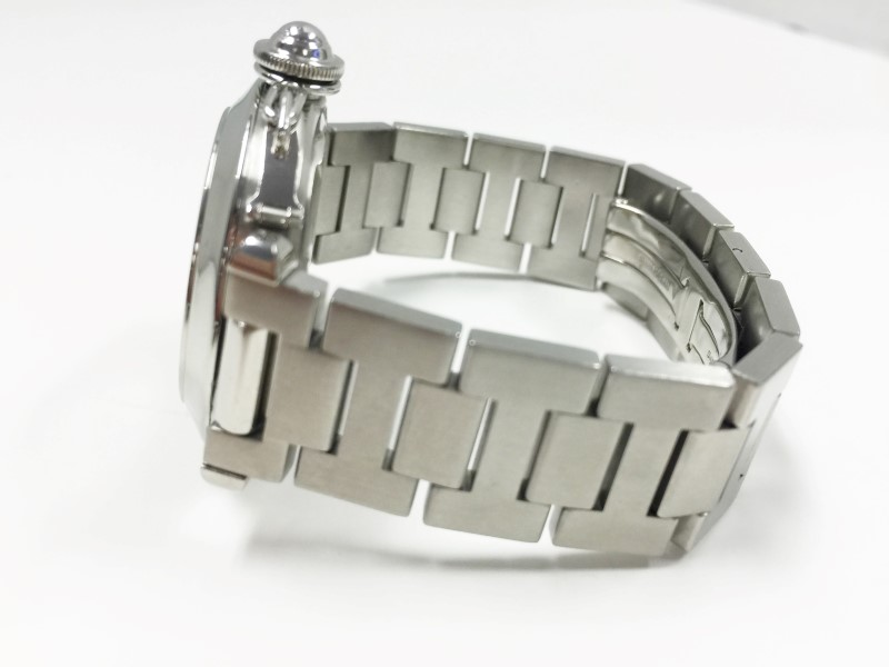 Cartier Stainless Steel Pasha Auto Date Pink Dial Watch