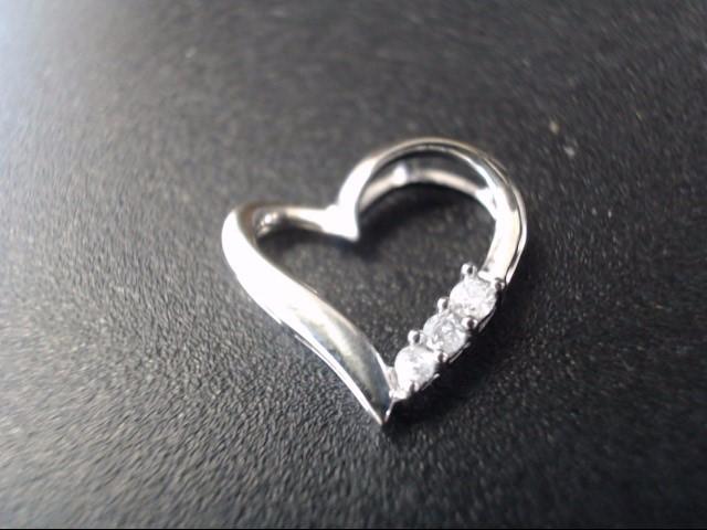 Gold-Multi-Diamond Pendant 3 Diamonds .15 Carat T.W. 10K White Gold 0.5g
