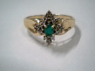 Green Stone Lady's Stone & Diamond Ring 4 Diamonds .04 Carat T.W.