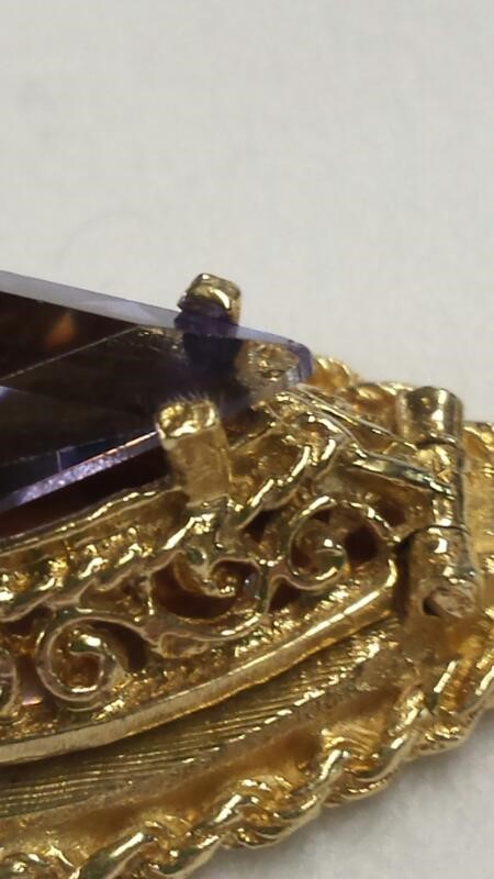 Amethyst Gold-Stone Pendant 14K Yellow Gold 3.41dwt