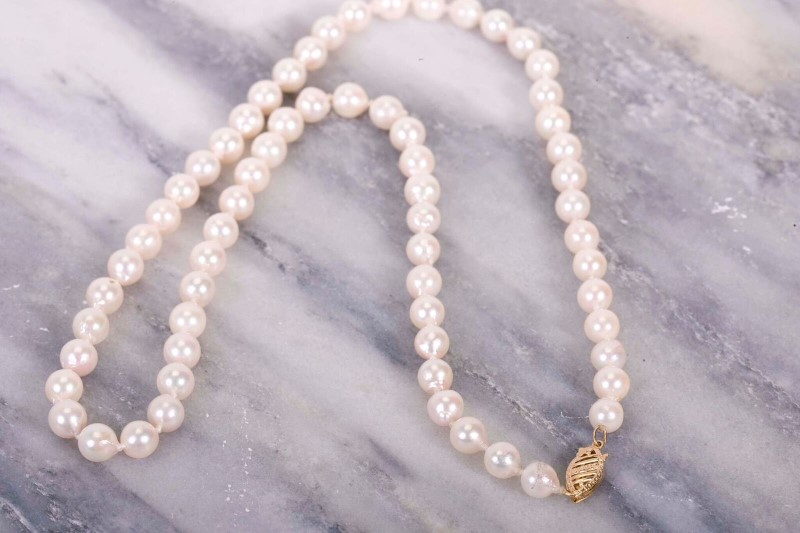 Pearl Stone Necklace 14K Yellow Gold 1g