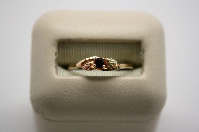 LADY'S GARNET 10K BLACK HILLS GOLD RING