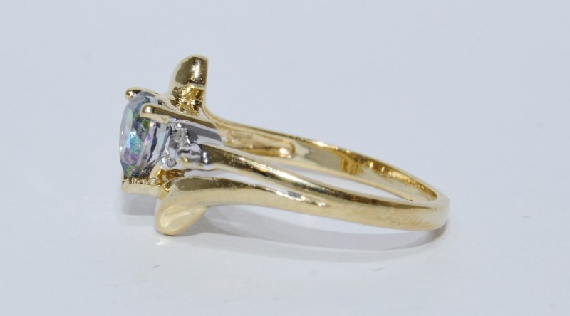 10K Yellow Gold Adorable Split Bypass Shank Heart Mystic Topaz & Diamond Ring6.7