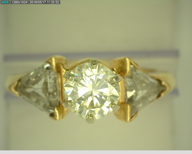 LADY'S 14KYG DIAMOND RING APX1.21CT CENTER STONE APX1.24C.T.W TRILLION CUTS SZ.8