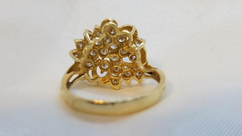 Lady's Diamond Cluster Ring 24 Diamonds .72 Carat T.W. 14K Yellow Gold 4.2g