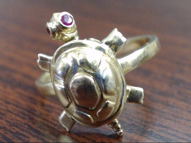 ESTATE TURTLE RUBY SOLID REAL 14K GOLD RING ANIMAL REPTILE SEA SZ 8