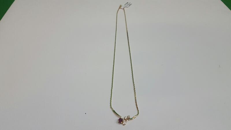 "16"" Ruby Diamond & Stone Necklace 2 Diamonds .06 Carat T.W."