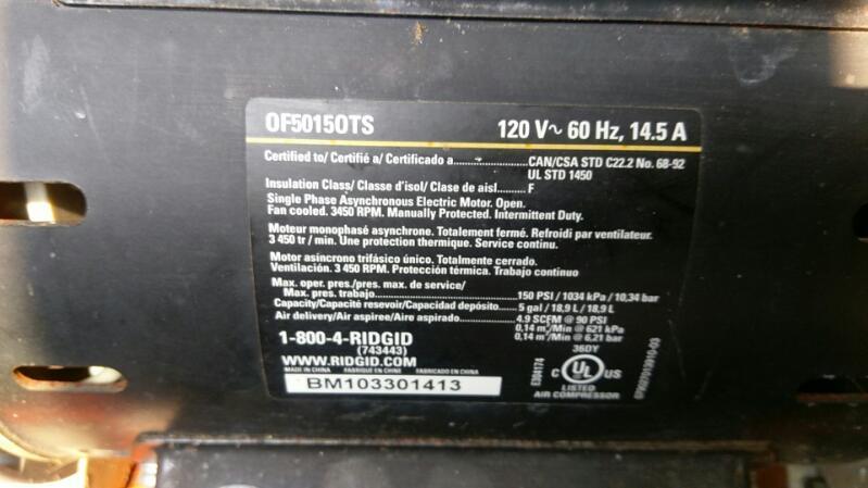 RIDGID TOOLS AIR COMPRESSOR MODEL OF50150TS