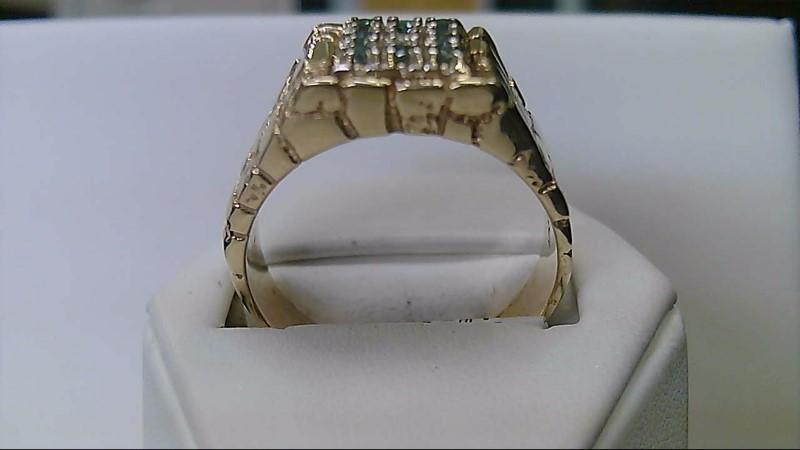 Gent's Diamond Fashion Ring 9 Diamonds .27 Carat T.W. 10K Yellow Gold 13.02g