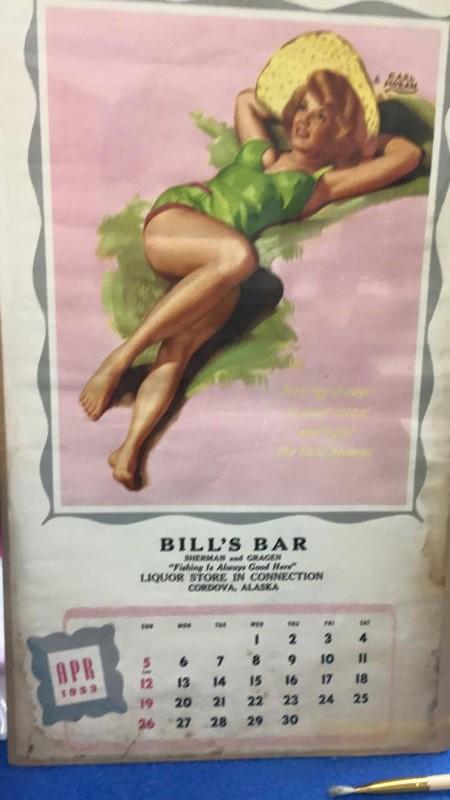 APRIL 1953 CALENDAR GIRL BILL'S BAR