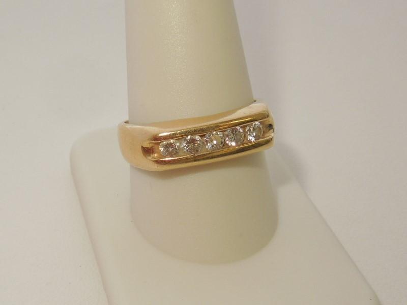 Gent's Gold-Diamond Wedding Band 4 Diamonds .40 Carat T.W. 14K Yellow Gold 5.7g
