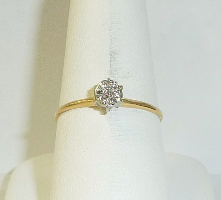Lady's Diamond Engagement Ring 7 Diamonds .07 Carat T.W. 10K Yellow Gold