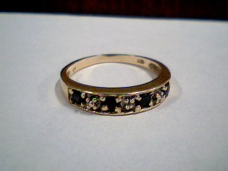 Synthetic Sapphire Lady's Stone & Diamond Ring .01 CT. 10K Yellow Gold 2.1g
