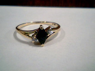 Synthetic Sapphire Lady's Stone & Diamond Ring 2 Diamonds .08 Carat T.W.