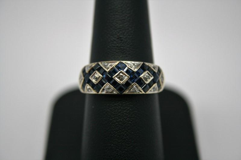 LADY'S FASHION DIAMOND & SAPPHIRE RING 14K YELLOW GOLD