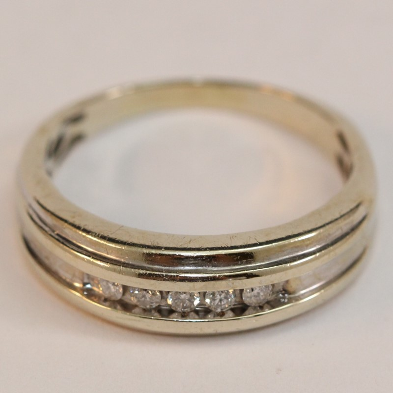 14K White Gold Men's Diamond Wedding Band Size 12.5