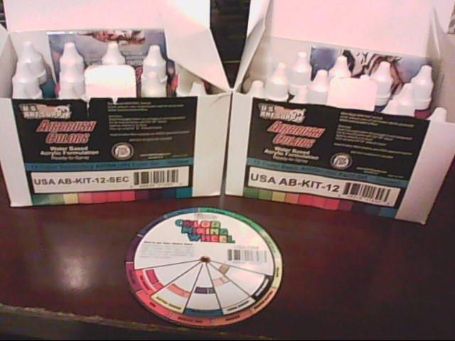 U.S. ART SUPPLY Spray Equipment AIRBRUSH PAINT SET USA AB-KIT-12 & AB-KIT-12-SEC