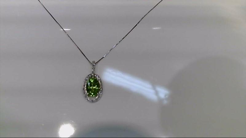 Peridot Diamond & Stone Necklace 22 Diamonds .22 Carat T.W. 14K White Gold 2.8g
