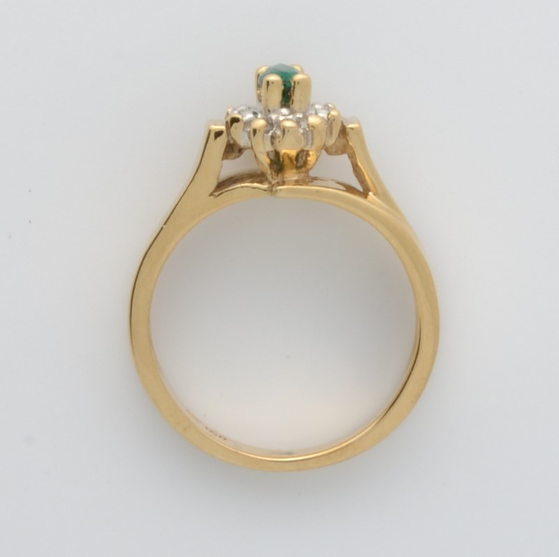 ESTATE EMERALD GREEN DIAMOND RING SOLID 10K GOLD MARQUISE HALO 6.50