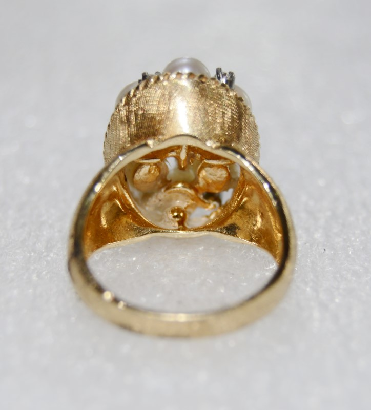 14K Yellow Gold Textured Pearl & Diamond Cluster Statement Ring sz 6.5