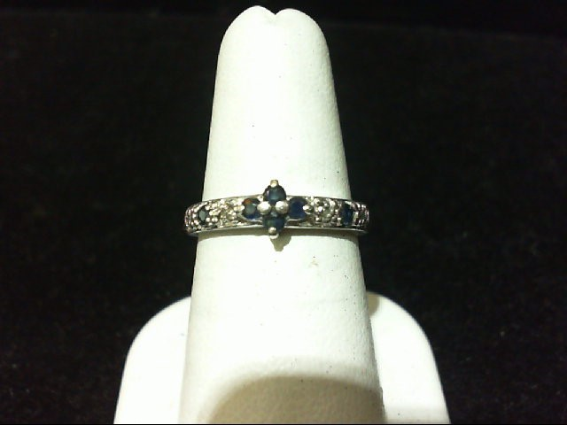 Sapphire Lady's Silver-Diamond & Stone Ring 4 Diamonds .020 Carat T.W.