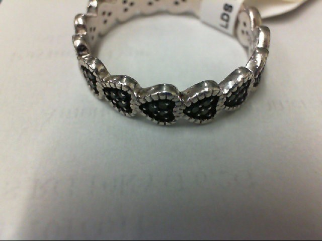 Lady's Silver-Diamond Ring 45 Diamonds .45 Carat T.W. 925 Silver 3.4g