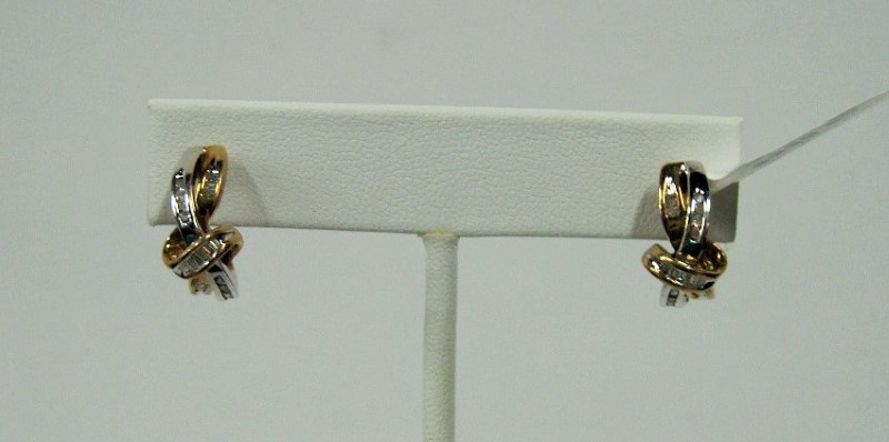 Gold-Diamond Earrings 38 Diamonds .38 Carat T.W. 10K 2 Tone Gold 2.6dwt