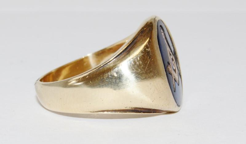 10K Men's Yellow Gold Bezel Masonic Blue Stone Ring Size 10