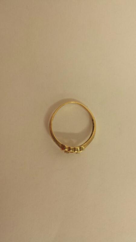 Lds 10K-Y/G Two Heart 6-Diamond Fashion Ring