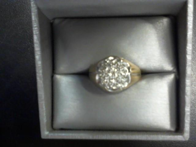 Gent's Diamond Cluster Ring 10 Diamonds .10 Carat T.W. 10K Yellow Gold 3.9g