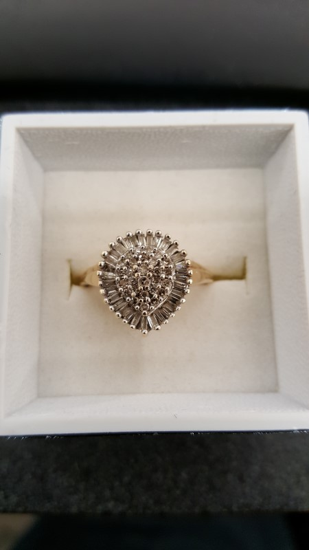 Lady's Diamond Cluster Ring 58 Diamonds .89 Carat T.W. 10K Yellow Gold 3.1g