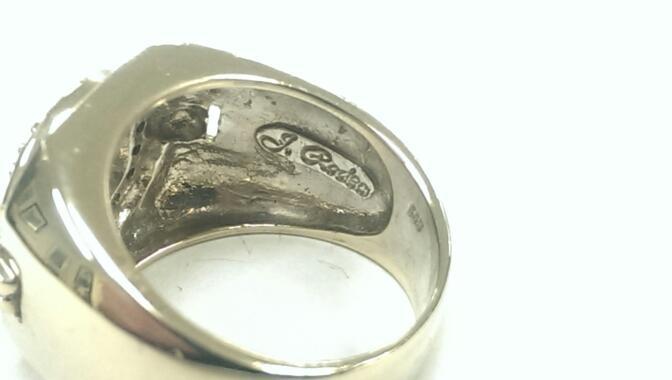 J. RODEO Blue & Yellow Diamond 14K White Gold Ring Size 10.25