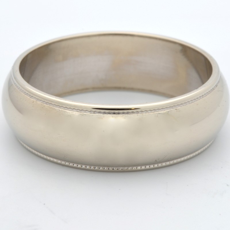 7mm BEAD EDGE MENS WEDDING RING BAND REAL 14K WHITE GOLD 8.7g SZ 10