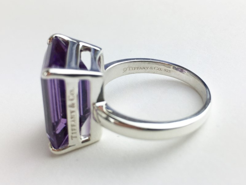TIFFANY & CO SPARKLERS .925 AMETHYST COCKTAIL RING APX 9.00 CTS SIZE 7.5