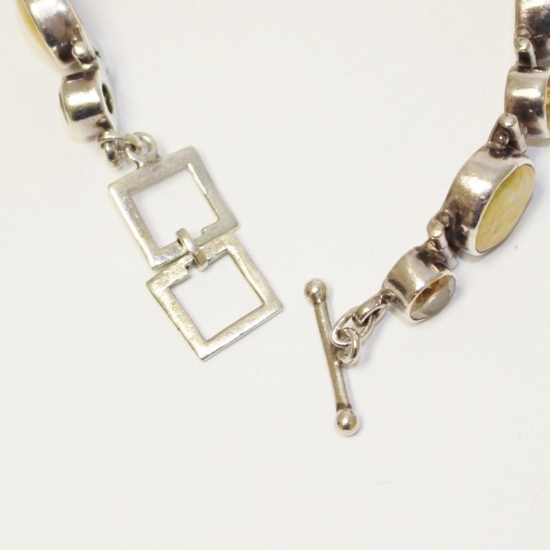 Women's Sterling Silver Round Cut Beryl Bracelet