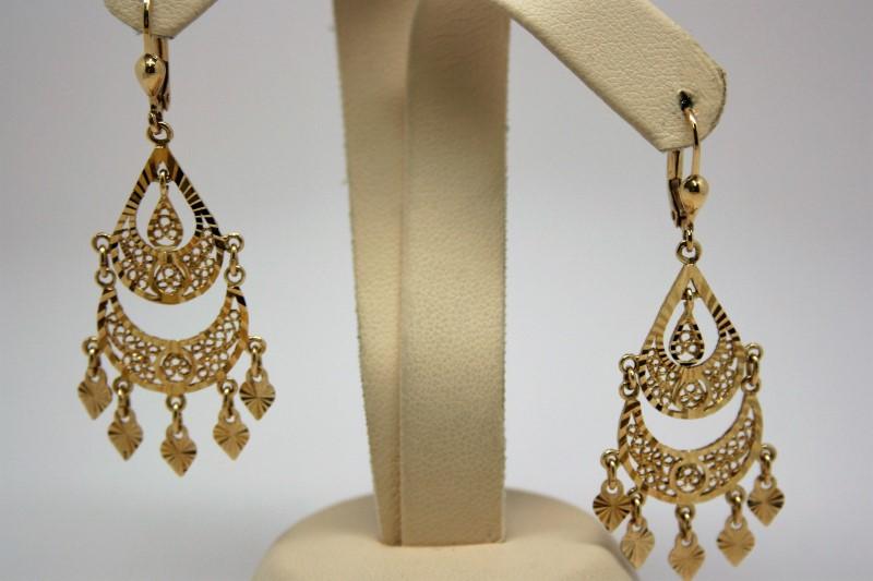 FASHION STYLE DANGLE EARRINGS 14K YELLOW GOLD