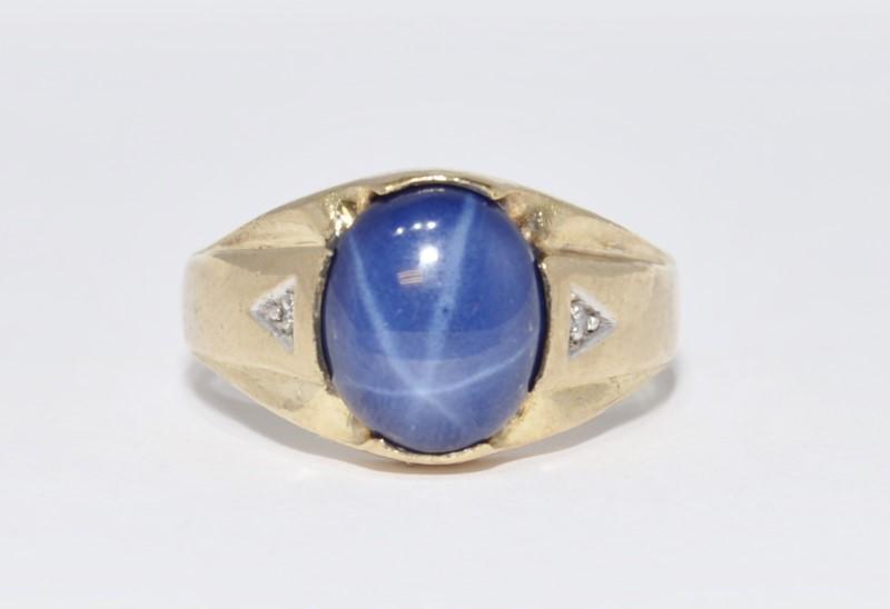Men's 10K Yellow Gold Solid Backed Star Sapphire & Diamond Ring sz 11