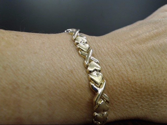 VINTAGE HUG KISS BRACELET SOLID REAL 10K YELLOW GOLD HEART LOVE 7.5""