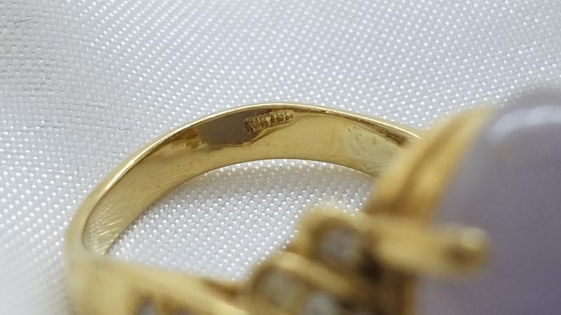 Lavender Jade 13 Carat Ladies Ring .22 CTW Diamonds Size - 8