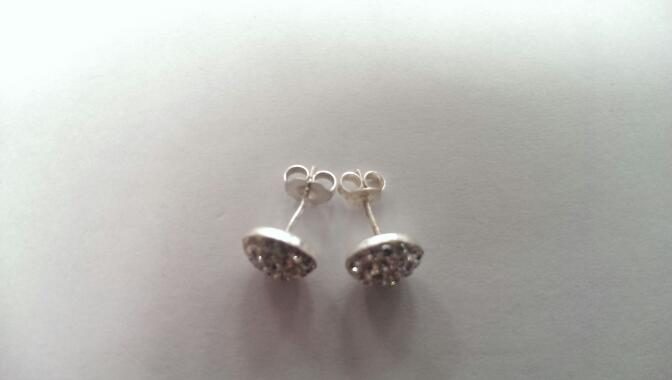 White Stone Silver-Stone Earrings 925 Silver 1.3g