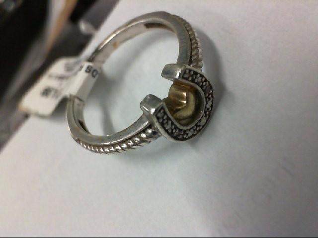 Lady's Silver-Diamond Ring 2 Diamonds .02 Carat T.W. 925 Silver 2.7g