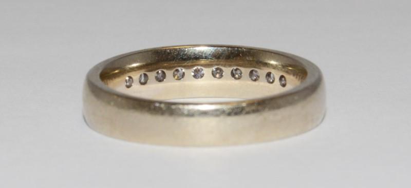 14K Men's White Gold & Channel Set Diamond Wedding Band Size 12.25