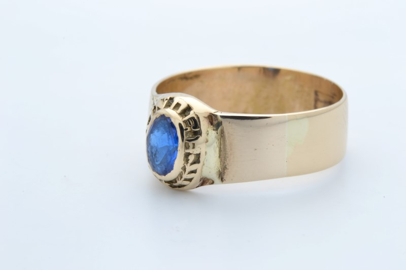 ESTATE BLUE STONE RING SOLID 14K YELLOW GOLD OVAL CUT UNISEX SIZE 7