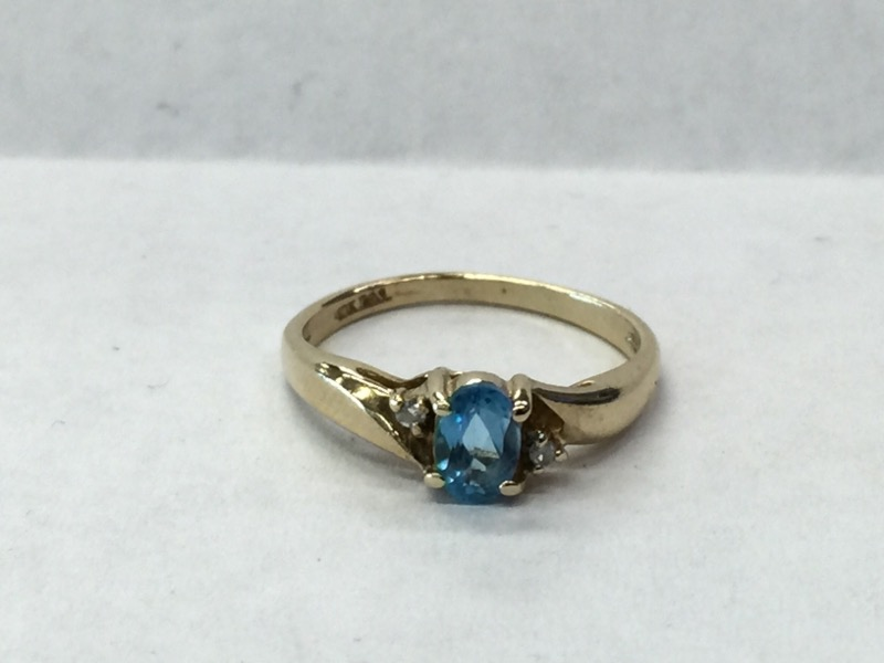 Blue Stone Lady's Stone & Diamond Ring 2 Diamonds .02 Carat T.W.