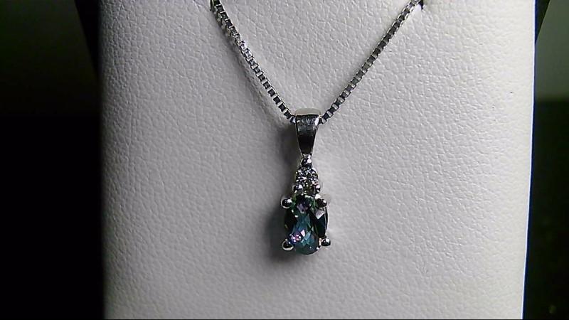 Blue Topaz Gold-Diamond & Stone Pendant .03 CT. 14K White Gold 0.81g