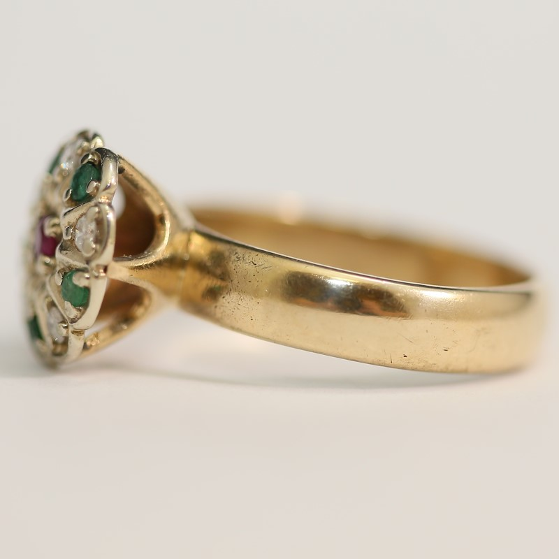 Vintage Emerald, Ruby and Diamond 14K Yellow Gold Ring Size 10.75