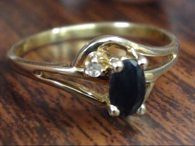 ESTATE OVAL CUT SAPPHIRE DIAMOND RING REAL 10K YELLOW GOLD SIZE 6.25